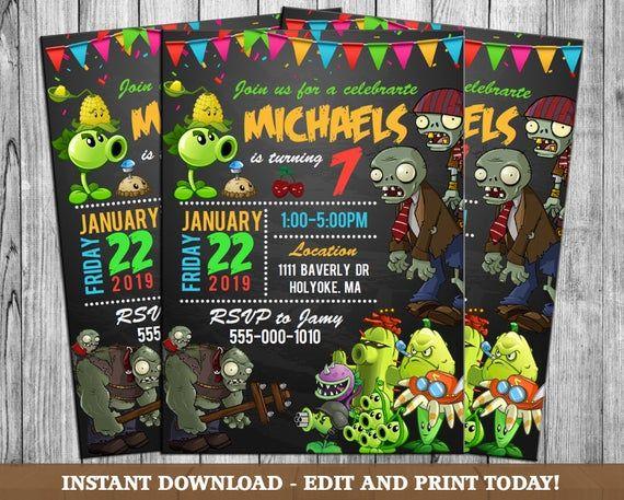 Plants Vs Zombies Invitation Plants Vs Zombies Party Plants Vs Zombies Bir Plants Vs Zombies Birthday Party Zombie Birthday Zombie Birthday Party Decorations