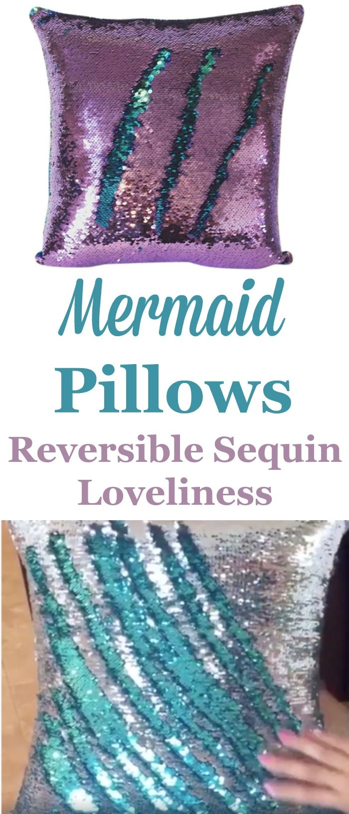 Wow, these mermaid pillows are so fun. Great for decoration and to play with, changing the colors of the sequins back and forth.