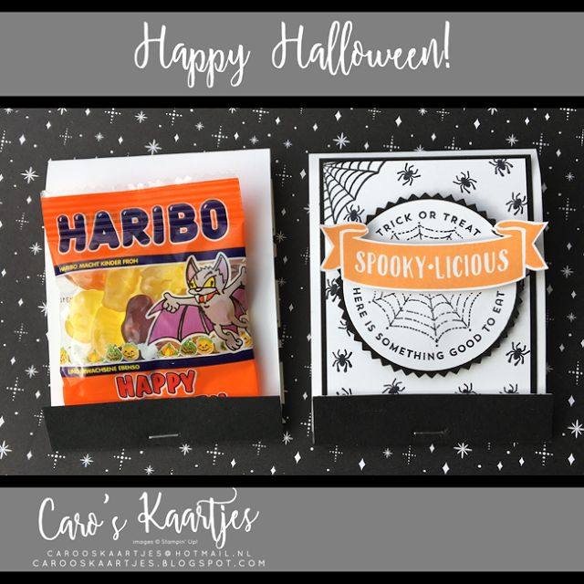 Caro's Tickets |  Independent Stampin 'Up!  demonstratrice |  www.carooskaartjes.blogspot.nl |  carooskaartjes@hotmail.nl | Stampin 'Up!  point of sale |  Halloween |  Trick or Treat |  The Little Things |  Labels to Love |  Sweet Home |  Stampin 'Up!  Halloween |  Halloween treat |  Haribo treat |  Halloween Haribo packaging |  Haribo packaging |  pizza box |  pizza box |  Halloween pizza box |  Halloween packaging |  Halloween ringer |  Halloween stamps |  stamp |  creative |  homemade…