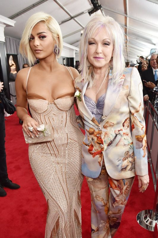 (Kevin Mazur via Getty Images) Grammys 2018: Bebe Rexha and Cyndi Lauper