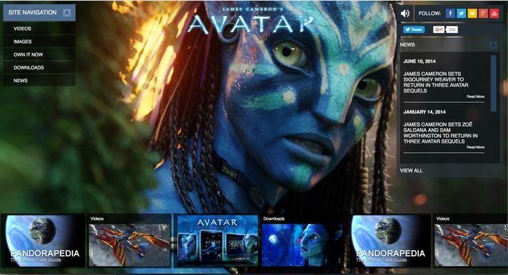 http://www.avatarmovie.com/index.html Het design van deze site is zodanig opgesteld dat je alles in één klik kan vinden. Er worden verschillende screenshots van de film getoond een wekt een geïnteresseerd gevoel op.