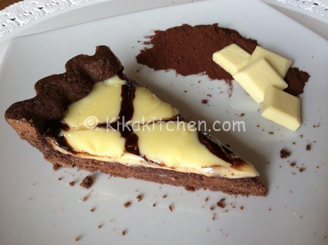 Crostata al cacao con crema al cioccolato bianco
