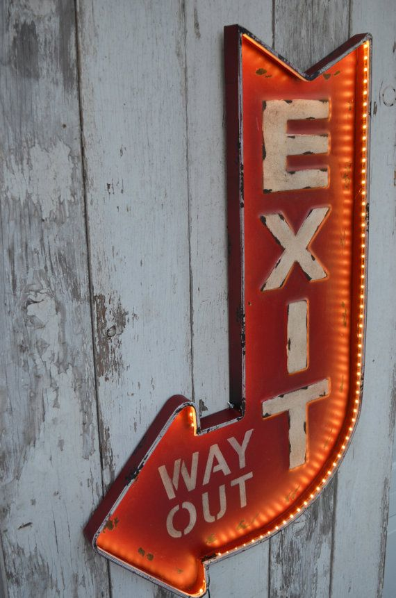 Lighted Exit Sign Metal Arrow Way Out, Marquee Sign, Way Out Sign, Light Sign, General Store sign