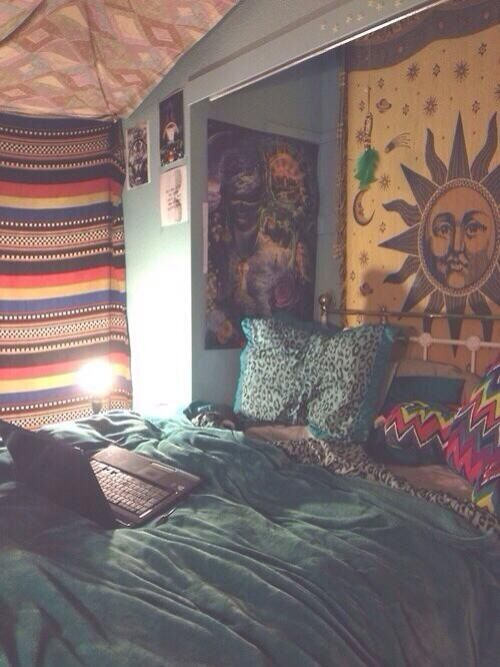 Boho bedroom. Tapestries. Hippie-ish. More