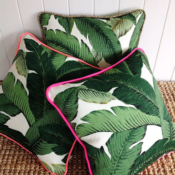 Neon Green Palm Banana leaf Outdoor Cushion or by SquareFoxDesigns
