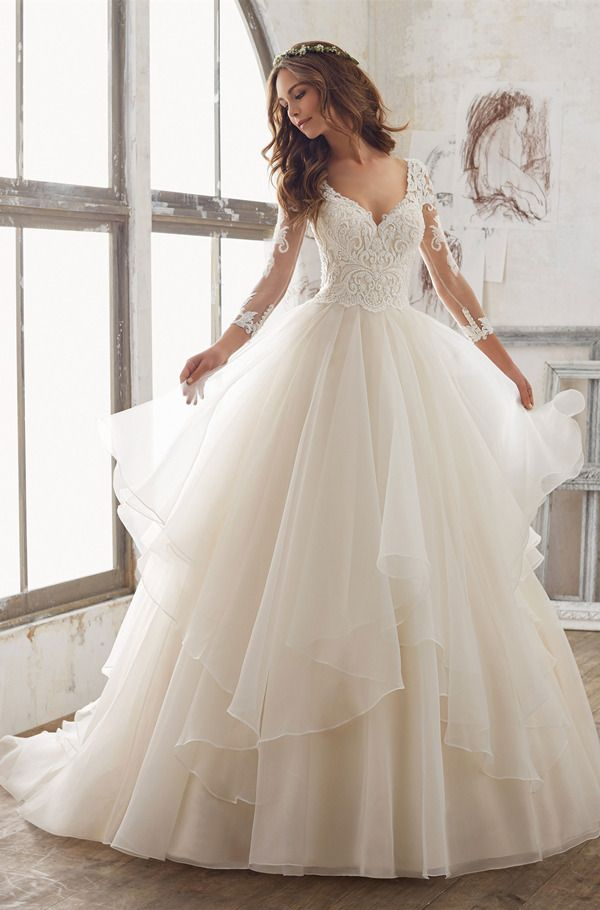 stunning illusion lace wedding dresses from Morilee 2017 collection