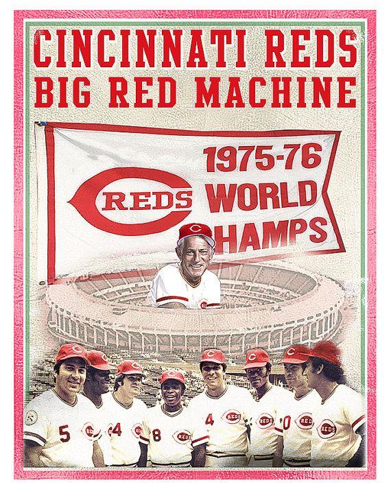 Cincinnati Reds  Big Red Machine Print  Cincinnati by aswegoArts
