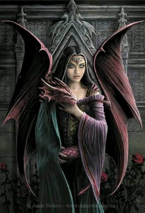 anne stokes dragon girl fantasy art dragons pinterest red dragon on back and wings. Black Bedroom Furniture Sets. Home Design Ideas