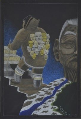 Tim Pitsiulak - Spirit Man 43.75 x 30 Coloured pencil on paper (186-0508)