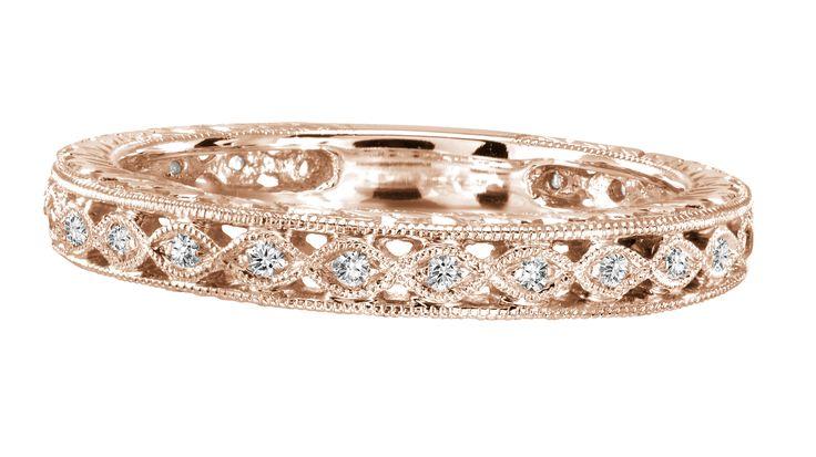 Rose Gold Vintage Diamond Band .15ct tw