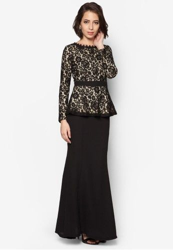 Hannah Lace Peplum Kurung from VERCATO in Black Embody the modern, classic beauty in this stunning baju kurung by VERCATO. The lovely peplum design flatters while the lace overlay and subtle mermaid silhouette exude sophistication.  Top - Polyblend - Round neckline - Long sleeves - Back zip fa... #bajukurung #bajukurungmoden