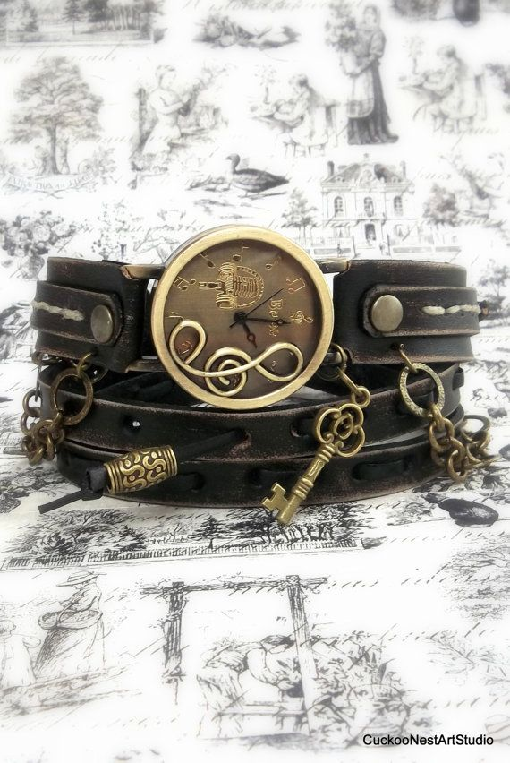 Musical Note Leather Wrap Watch, Antique black Womens leather watch, Bracelet Watch, Wrist Watch with key charm and chain