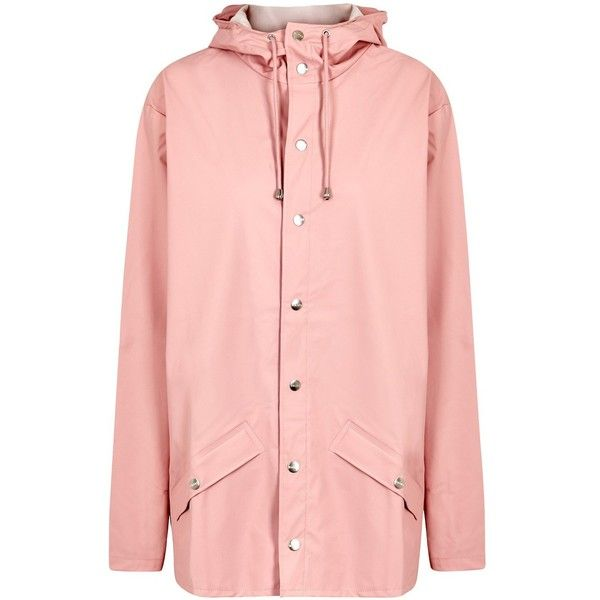 Rains Light Pink Rubberised Raincoat - Size S/M (1.301.465 IDR) ❤ liked on Polyvore featuring outerwear, coats, pink coat, rains raincoat, rain coat, pink raincoat and pink rain coat