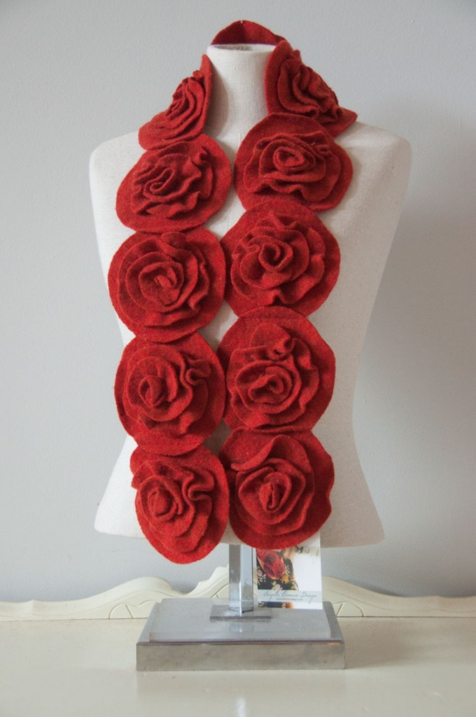 Recycled sweater rose scarf