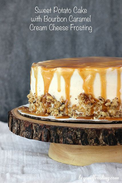 Sweet Potato Cake with Bourbon Caramel Cream Cheese Frosting - Beyond Frosting
