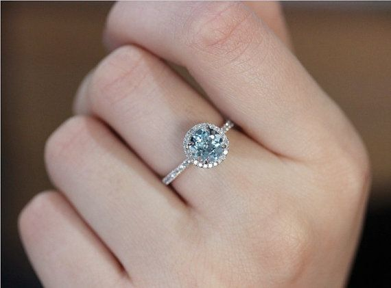 Halo 7mm Round Aquamarine Ring 0.27ct Diamonds 14K White Gold ...