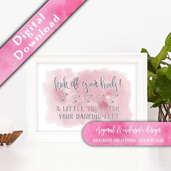 Printable Kick off your Heels Sign, Dancing Feet Sign, Flip Flops Sign, Wedding Flip Flops, Flip Flops Basket Sign, Watercolour Signage