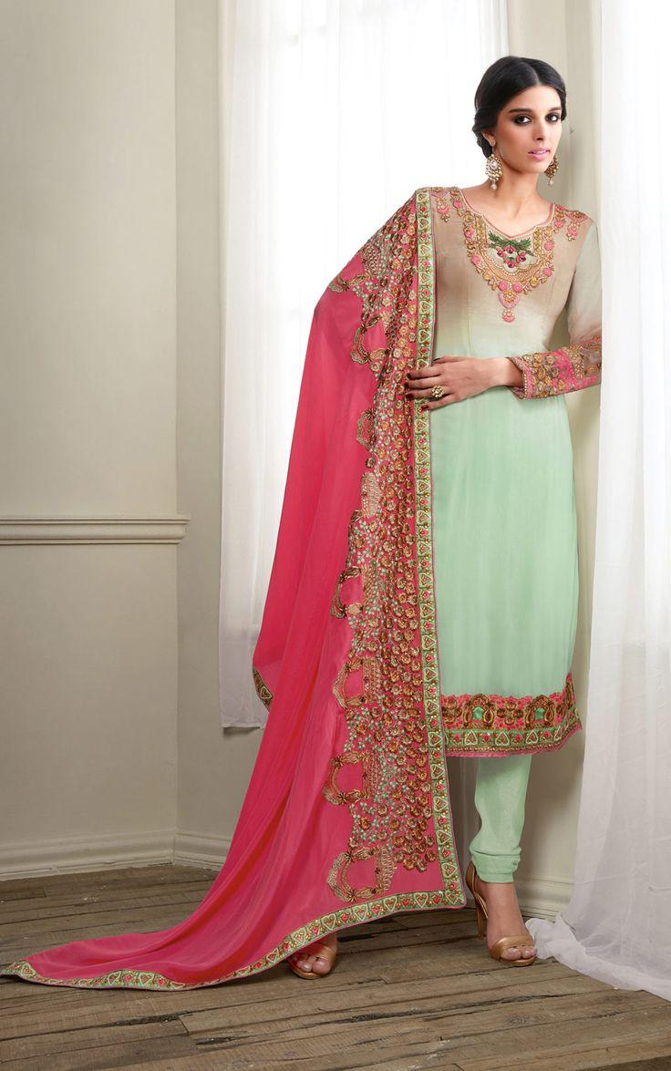 Giselli Monteiro Light Green Georgette Churidar Suit 69588
