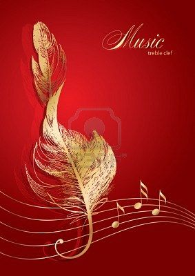 Gold feather treble clef with notes on red