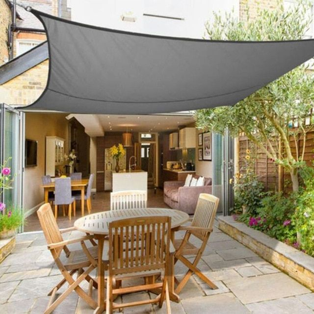 Grey Square 3x3 4x4m Retractable Sun Shade Shelter 160gsm Hdpe Farbic Garden Awning Canopy Sunshade Review Shade Sails Patio Patio Shade Patio Canopy