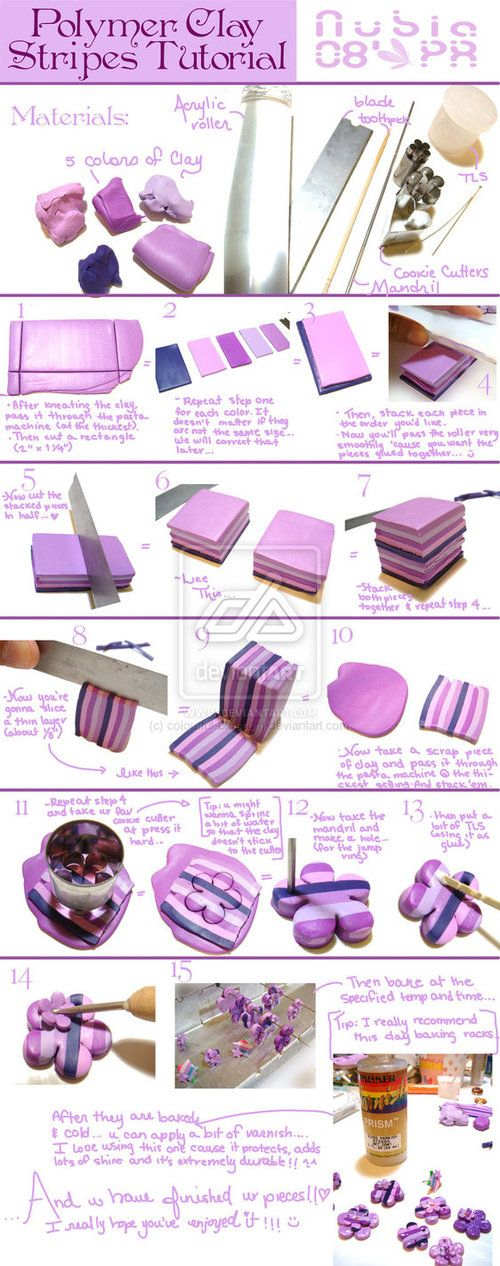 Very cool polymer clay stripes tutorial