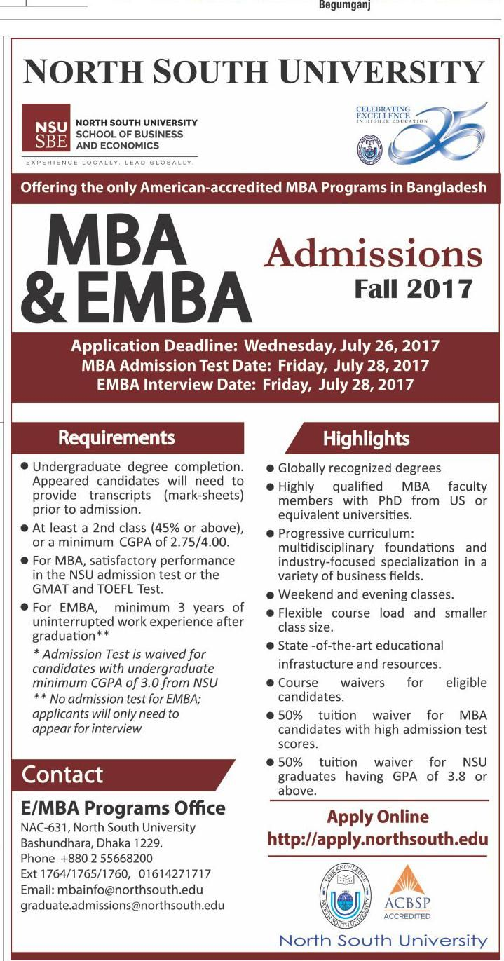 MBA & EMBA Admissions Notice Fall 2017 At North South University