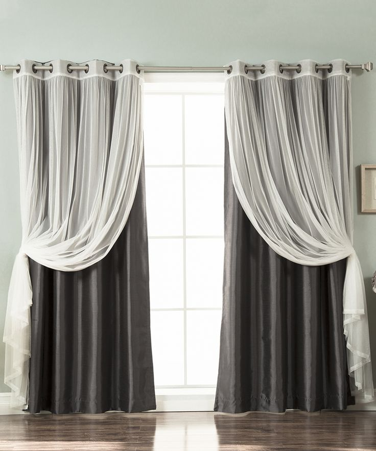 Dark Gray Tulle Lace & Faux Silk Curtain Panel - Set of Four