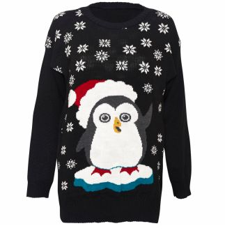 CHRISTMAS SWEATERS!! { Penguin Santa Women's Jumper - Attitude Clothing }