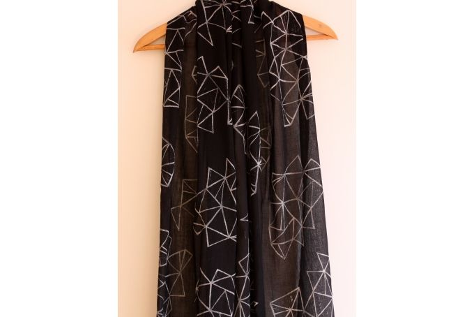 Black and white hand block printed trapeze Indian cotton scarf/shawl by Kerry Cherry Designs and Prints on hellopretty.co.za