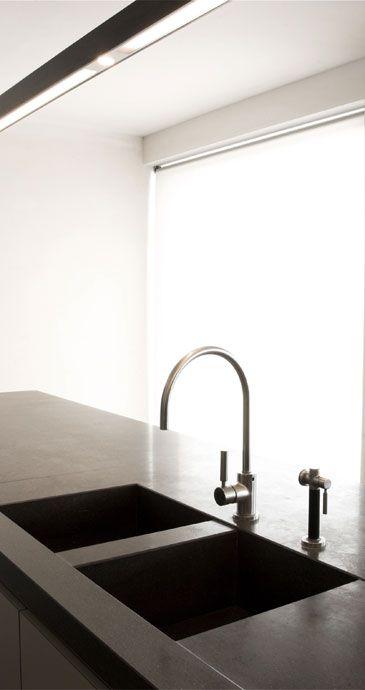 Black kitchen sinks black kitchens kitchen modern kitchen dining apartment kitchen kitchen interior concrete kitchen architecture details design
