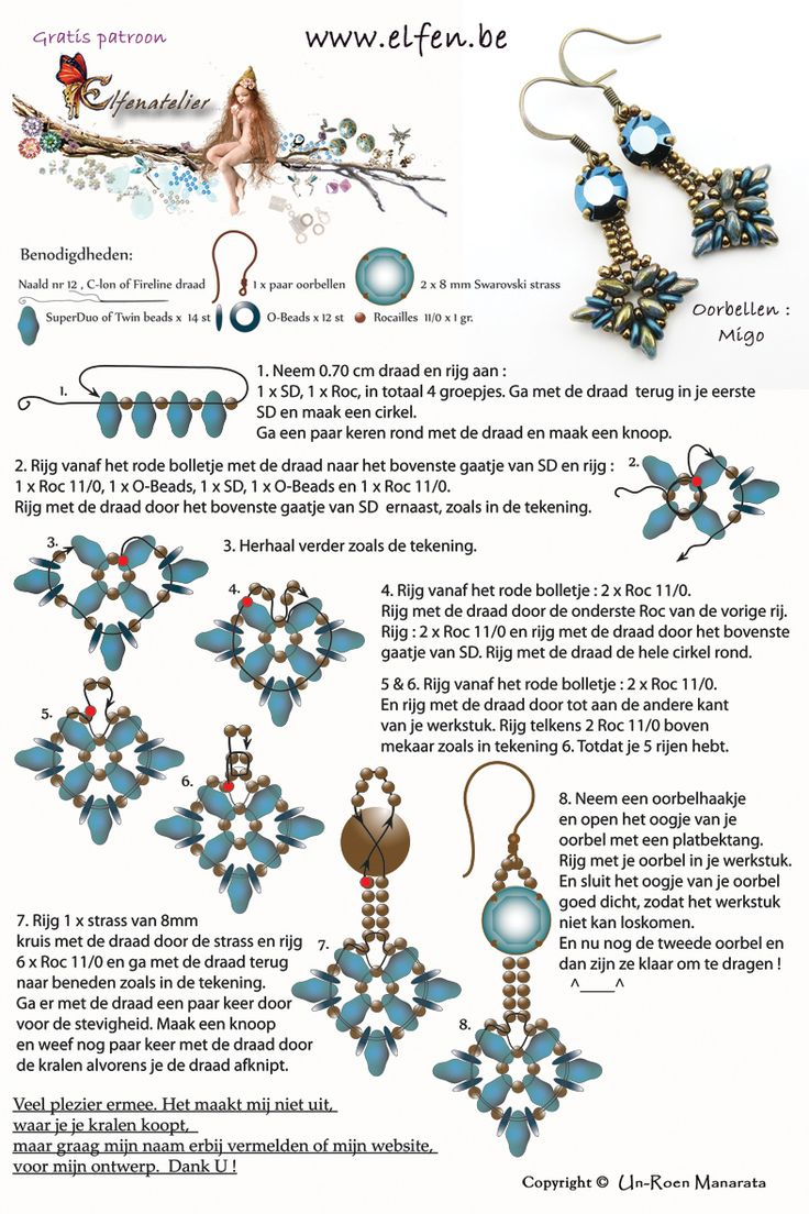 MIGO Earrings - FREE Tutorial from Elfenatelier. Use: 2 Swarovski strass, SuperDuo or Twin beads, O-beads, seed beads 11/0