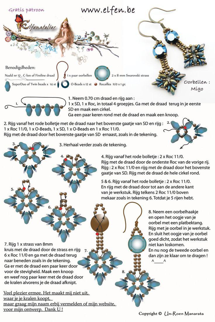 MIGO Earrings - FREE Tutorial from Elfenatelier. Use: 2 Swarovski strass, SuperDuo or Twin beads, O-beads, seed beads 11/0