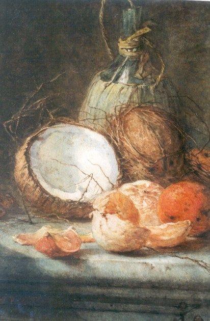 Maria Vos (Amsterdam 1824-1906 Oosterbeek) Stilleven met wijnfles, kokosnoten…