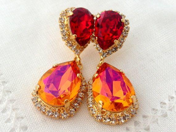 Orange pink and deep red Swarovski Chandelier earrings by EldorTinaJewelry | http://etsy.me/1PMM6Yv
