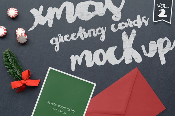 Xmas Greeting Cards Mockup Vol. 2 by TOMODACHI on Creative Market