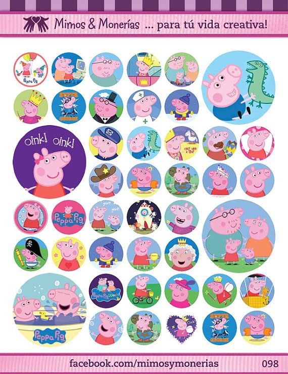 "Peppa Pig Bottle Cap Images - 8.5"" x 11"" Digital Collage Sheet - 1"" Circles for…"