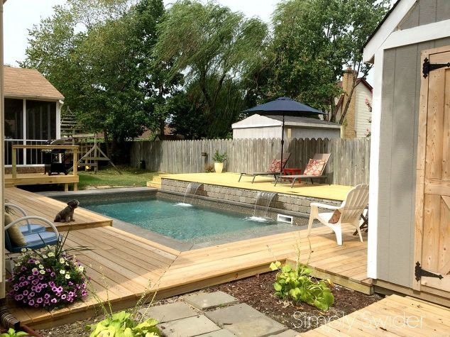 patio trasero de cambio de imagen un año después, cubiertas, bricolaje, vallas, vida al aire libre, diseños de la piscina