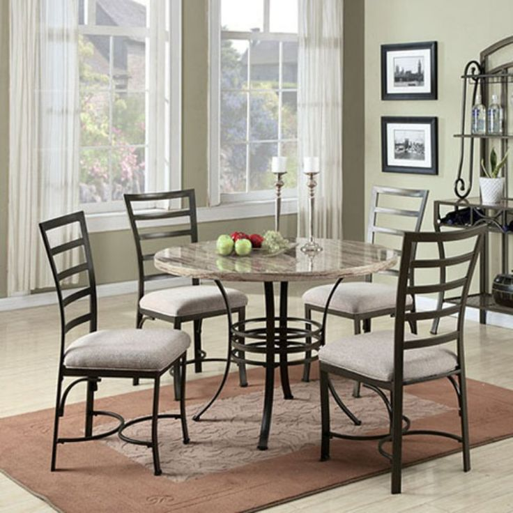 Acme Furniture Daisy 5 Piece Round Faux Marble Dining Table Set   White    70057