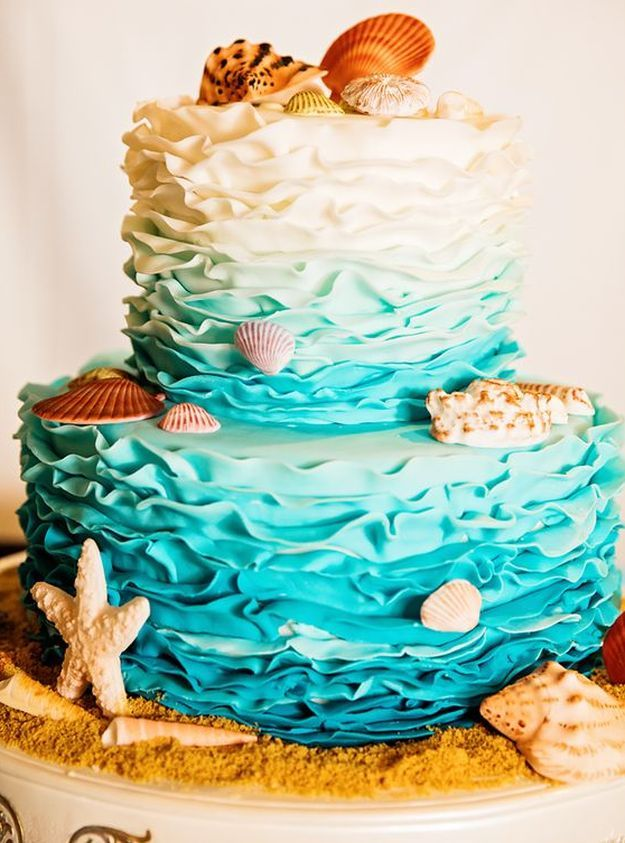 Ombre Ruffled Cake | 15 Stunning Wedding Cakes For A Unique Wedding | Make Your Wedding Extra Special with these Beautiful, Elegant and Creative Cake Ideas | http://homemaderecipes.com/15-stunning-wedding-cakes/