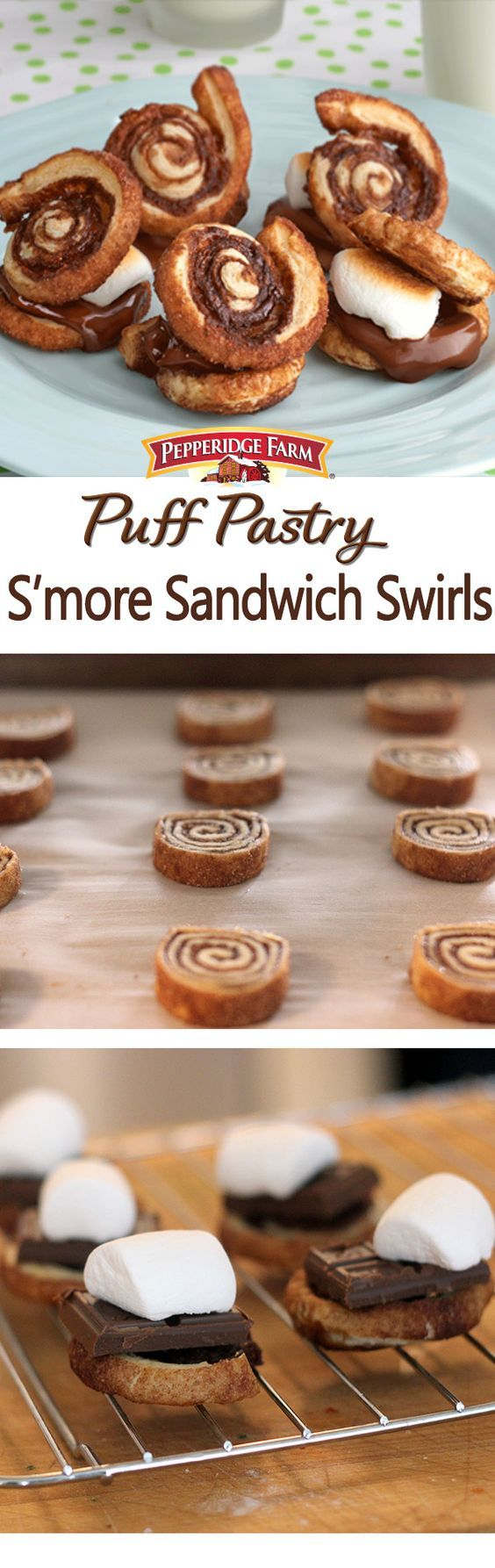 Puff Pastry S'more Sandwich Swirls Recipe.  Check out this unique twist on a classic favorite. Warm, sweetened Puff Pastry slices, marshmallows and chocolate combine to create a dessert that is unbelievably scrumptious. There is no better way to celebrate S'mores Day or to just enjoy a warm summer evening.
