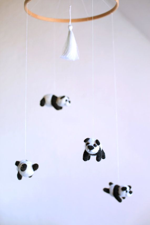Panda mobile-nursery mobile-kids mobile-bear mobile - felted mobile