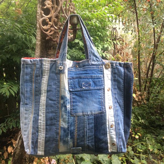 Repurposed denim tote Blue jeans tote jeans by HobbsHillQuilts