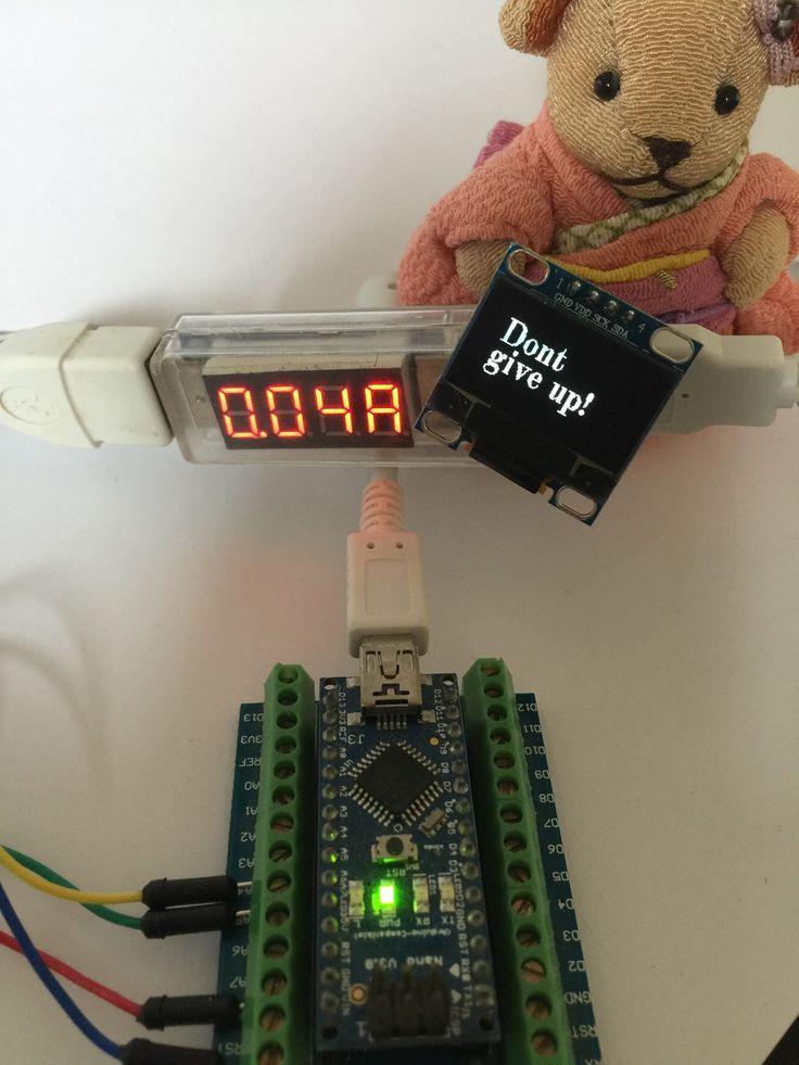 """Stromverbrauch des OLED mit """"Dont give up!"""" Anzeige und Arduino Nano"""