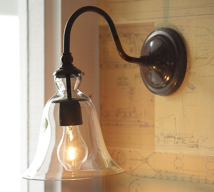 Rustic Glass Sconce, Clear Over Sink?