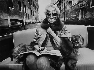Peggy Guggenheim ballin out in Venice (her gondolier was also the city's corpse collector)
