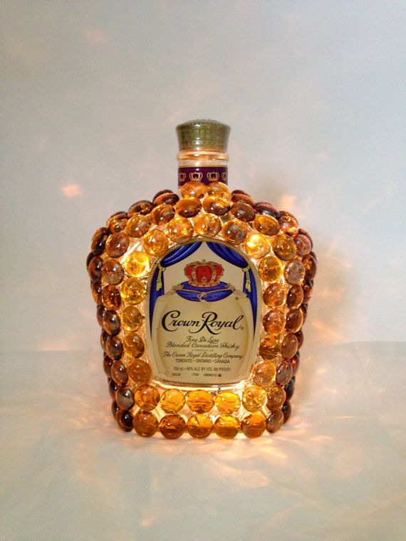 Crown Royal Liquor Bottle Light used amber glass stones glued to bottle use small set of clear lights or rice lights