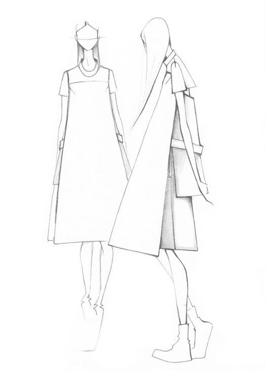 Fashion illustration - minimal fashion sketches // Minimal To for Peacebird