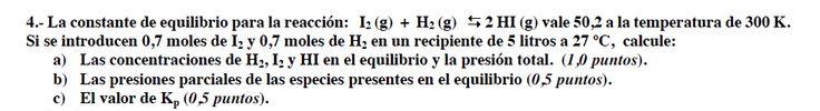 Ejercicio 4,P1, SETIEMBRE Fase Específica 2009-2010. Examen PAU de Química de Canarias. Tema: equilibrio.