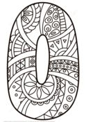 Number 0 Zentangle Coloring page