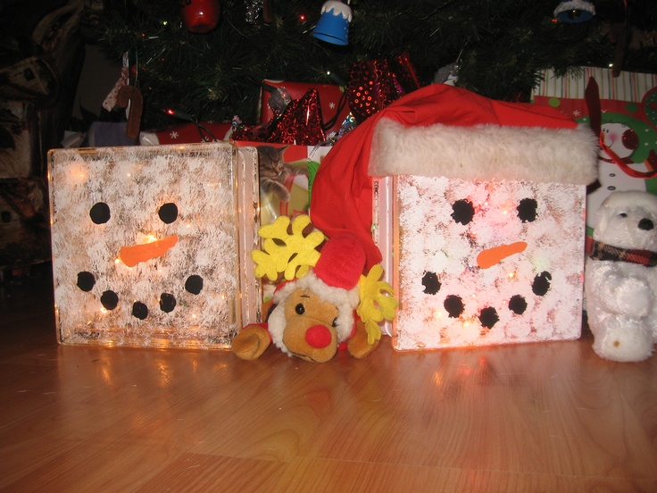 Glass Block Snowman Christmas Craft Ideas Pinterest